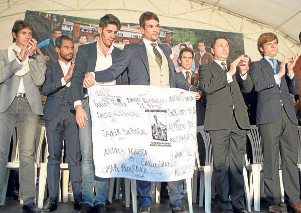 El Juli, Manzanares, Perera y Talavante fueron algunos de los toreros que acudieron a Bogotá a la llamada de César Rincón. / Mauricio Dueñas (EFE)