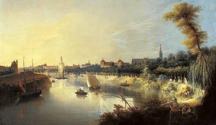 'Vista del Guadalquivir' (1854), con Sevilla al fondo y el ambiente que se vivía en la orilla del río. / Museo Carmen Thyssen