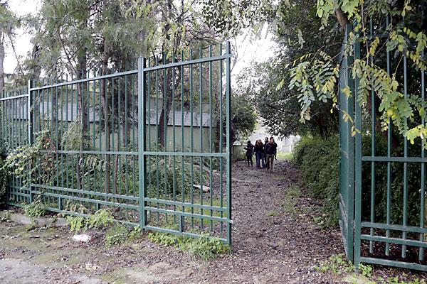 El portavoz del grupo municipal socialista, Juan Espadas, comprueba el estado de los Jardines del Guadalquivir.. / Foto: José Luis Montero