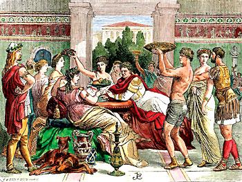 Imagen de un banquete romano.