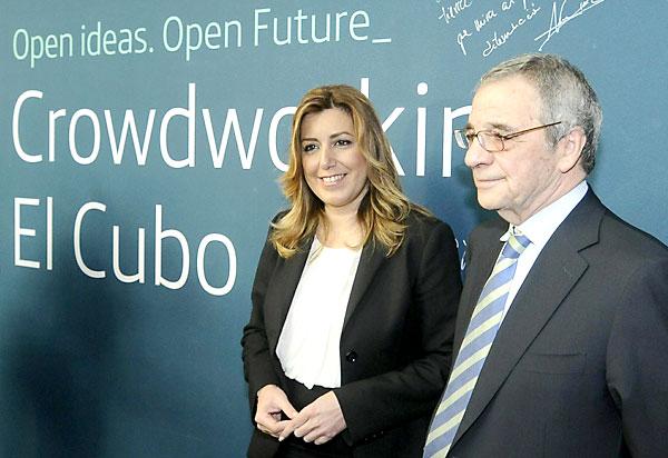 La presidenta de la Junta de Andalucía, Susana Díaz junto al presidente de telefónica, Cesar Alierta, este martes. EFE/Raúl Caro