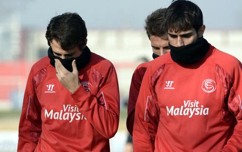 Pareja, Arribas y Carriço abandonan el entrenamiento. Foto: Manuel Gómez.