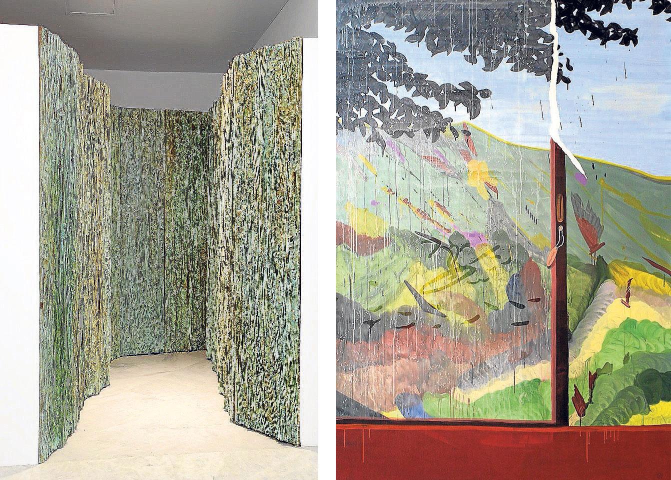 A la izquierda, obras de Cristina Iglesias y Miki Leal, respectivamente.