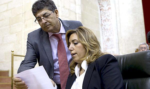Susana Díaz y Diego Valderas, en el Parlamento andaluz. / EFE