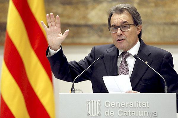 El presidente de la Generalitat, Artur Mas, en la rueda de prensa de este miércoles. / EFE