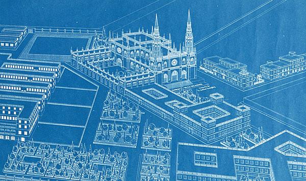 Plano del proyecto de la basílica de La Milagrosa . / El Correo