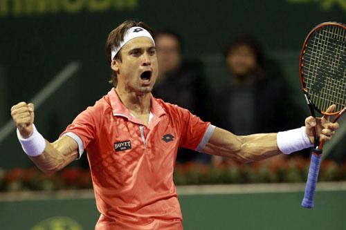 David Ferrer celebra su victoria ante el croata Ivo. /  EFE