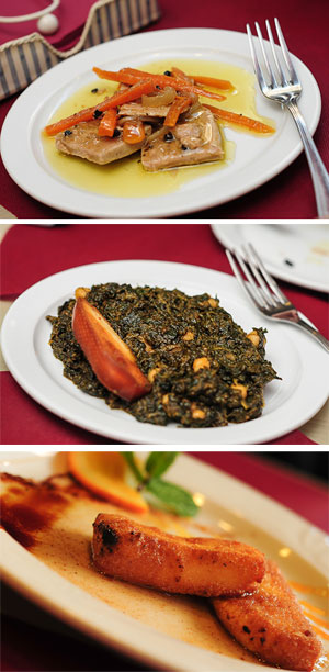 Atún es escabeche, Espinacas con garbanzos y Leche frita. / El Correo