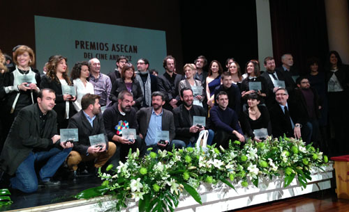 Foto de familia de los premiados por el Cine Andaluz.