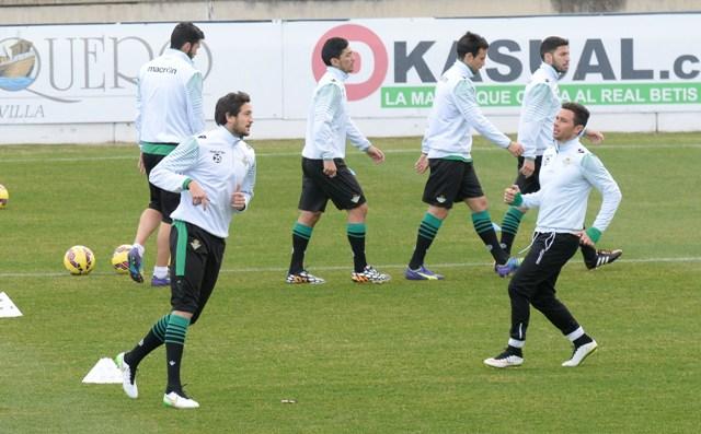 Héctor Rodas (izquierda) y Rubén Castro (derecha), en el entrenamiento del viernes / Foto: Inma Flores