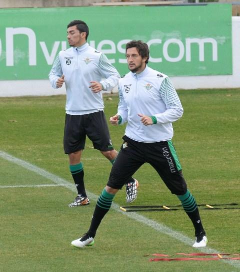 Héctor Rodas, con Lolo Reyes en el entrenamiento de este viernes / Foto: Inma Flores