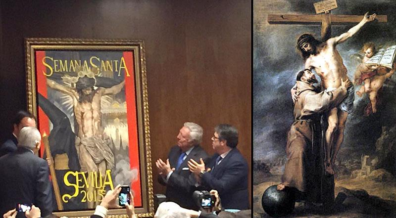 La obra del artista malagueño, Raúl Berzosa, y el cuadro Visión de San Francisco de Bartolomé Esteban Murillo.