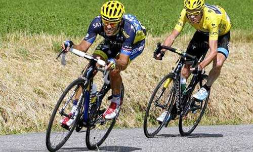 Alberto Contador y Chris Froome, en uno de los muchos duelos que han protagonizado.