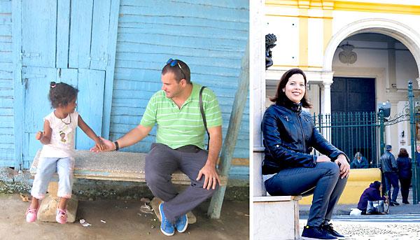 Manuel Herrado (izda.), cooperante sevillano en Santo Domingo y Karlina Delgado (dcha.), en la basílica de la Macarena.