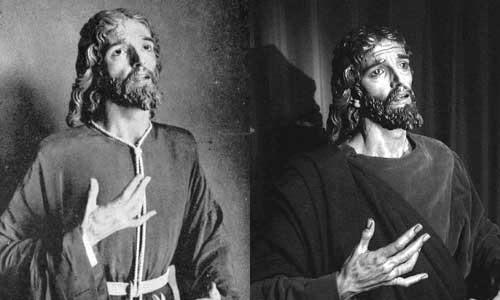 A la izquierda, la imagen, aún en el taller de Illanes, poco antes de su bendición. Y a la derecha: El Señor de la Victoria tras su restauración por Miñarro en 2003.