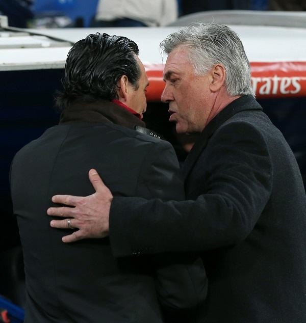 Emery y Ancelotti (EFE).