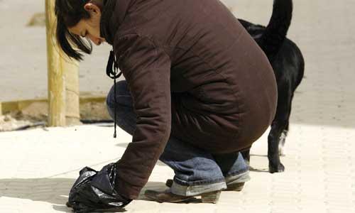 Una mujer recoge los excrementos de su perro. / José Manuel Cabello