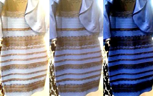 La imagen original está en el medio. A los lados la imagen con una balance de los blancos para que parezca que es de color blanco-dorado y azul-negro.