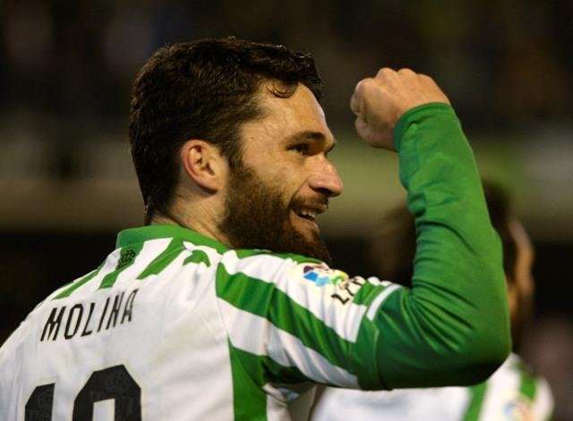 Jorge Molina celebra el 1-0 ante el Girona / Foto: Manuel Gómez
