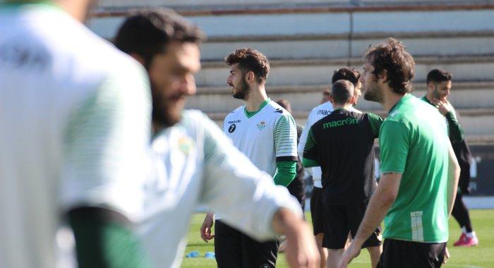 Álvaro Vadillo, hoy en el entrenamiento del Betis / Foto: Real Betis