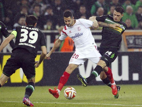 Vitolo, durante el partido de vuelta contra el Gladbach (Efe)