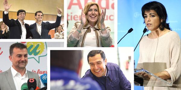 De izquierda a derecha, Juan Marían con Albert Rivera, Susana Díaz, Teresa Rodríguez, Juan Manuel Moreno y Antonio Maíllo. / EFE