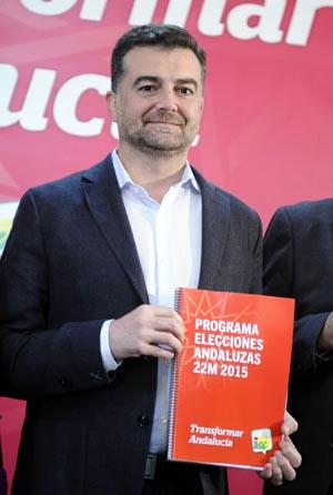 Maíllo, durante la presentación en Sevilla del programa electoral de la coalición de izquierdas para los comicios autonómicos. EFE/Raúl Caro