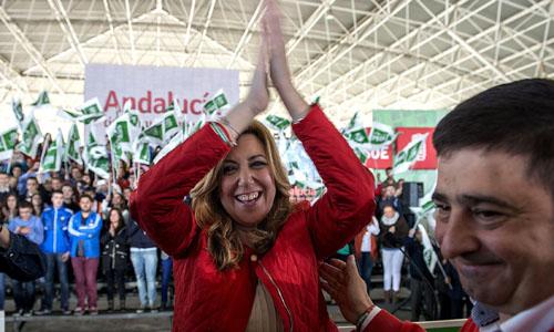 La presidenta de la Junta de Andalucía y candidata del PSOE para la reelección, Susana Díaz, a su llegada al acto público celebrado hoy en el Pabellón semicubierto del Palacio de Ferias de Jaén. / EFE