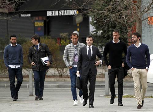 Los jugadores, en Pamplona (Efe)