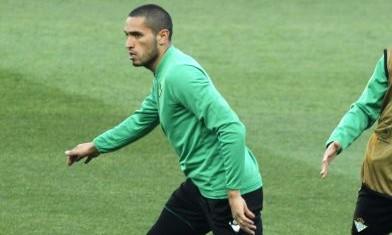 Braian Rodríguez, en un entrenamiento con el Betis / Foto: EFE