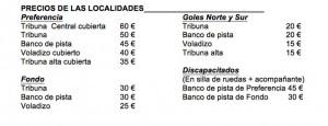 Tabla de precios para las entradas correspondientes al España-Ucrania del 27 de Marzo de 2015 en el Ramón Sánchez-Pizjuán