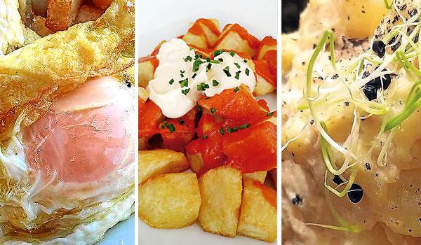 Huevos fritos con volantes, patatas fritas y tomate,  'papas' bravas y Ensaladilla de carabineros. / El Correo