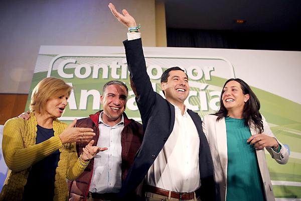 El candidato del Partido Popular a las elecciones andaluzas, Juanma Moreno, este jueves en Málaga. / EFE