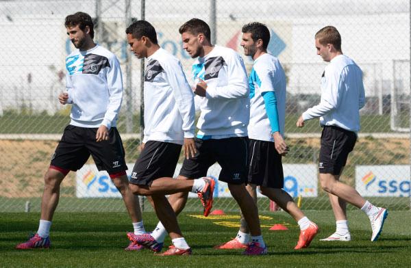 Pareja, entrenándose antes de viajar a Villarreal (M. Gómez)